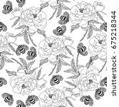 vector floral endless pattern... | Shutterstock .eps vector #675218344