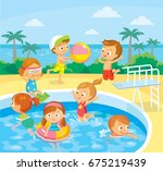 kids in swimming pool swimming... | Shutterstock .eps vector #675219439