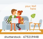 couple sitting together with... | Shutterstock .eps vector #675219448