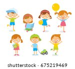 vector cute kids playing and... | Shutterstock .eps vector #675219469