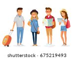 set group of young tourists... | Shutterstock .eps vector #675219493