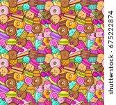 seamless background of sweet... | Shutterstock .eps vector #675222874