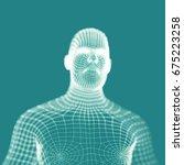 human torso on blue background. ... | Shutterstock .eps vector #675223258