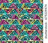 seamless tribal boho pattern.... | Shutterstock .eps vector #675229474
