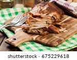 slow cooked pulled pork... | Shutterstock . vector #675229618