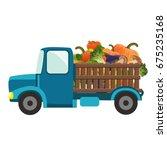 a cartoon blue truck carrying... | Shutterstock .eps vector #675235168