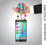 hand loads and installs apps in ... | Shutterstock .eps vector #675237859