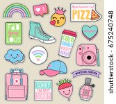 Stock vector set of fashion teenage girls patches cute pastel badges fun cartoon icons vector in teenager girl 675240748