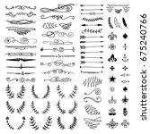 huge pack or set engraved hand... | Shutterstock .eps vector #675240766