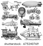Submarine, boat and car, motorbike, Horse-drawn carriage. airship or dirigible, air balloon, airplanes corncob, locomotive. engraved hand drawn in old sketch style, vintage passengers transport. - stock vector