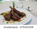 Small photo of lamb chop meal with back pepper sauce and Bell pepper, zucchini