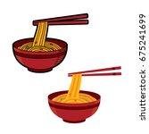 ramen japanese noodle soups.... | Shutterstock .eps vector #675241699