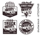 food truck set of four black...   Shutterstock .eps vector #675242968