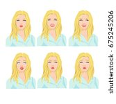 collection of woman's emotions. ... | Shutterstock .eps vector #675245206