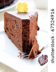 chocolate cake with chocolate frosting - stock photo