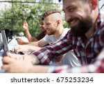caucasian cute man with a... | Shutterstock . vector #675253234
