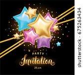 gold color star balloon bouquet ... | Shutterstock .eps vector #675263434