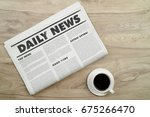 top view mockup newspaper and... | Shutterstock . vector #675266470