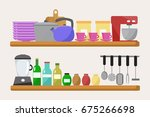 set of kitchenware   Shutterstock .eps vector #675266698