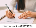 businesswoman checking... | Shutterstock . vector #675274726