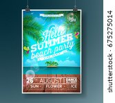 vector summer beach party flyer ... | Shutterstock .eps vector #675275014