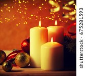 christmas candles and ornaments ... | Shutterstock . vector #675281593