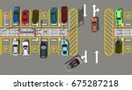 top view car city parking | Shutterstock .eps vector #675287218