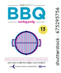 barbecue party poster vector... | Shutterstock .eps vector #675295756