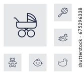 Set Of 6 Child Outline Icons...