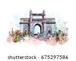watercolor sketch of gateway of ... | Shutterstock .eps vector #675297586