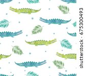 Stock vector seamless watercolor crocodile pattern vector background with alligators 675300493