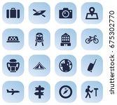 set of 16 travel icons set