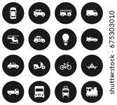 set of 16 transport icons set... | Shutterstock .eps vector #675303010