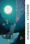 wolf howling on moon on a cliff ... | Shutterstock .eps vector #675303988