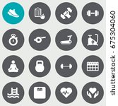 set of 16 fitness icons set... | Shutterstock .eps vector #675304060