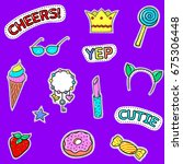 set of cute stickers. sweets... | Shutterstock .eps vector #675306448