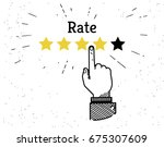 human hand leaving five stars... | Shutterstock .eps vector #675307609