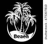 palm tree and waves of a night... | Shutterstock .eps vector #675307810