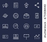 set of 16 trade outline icons... | Shutterstock .eps vector #675308440