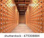 concept of a database. the... | Shutterstock . vector #675308884