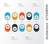 audio colorful outline icons... | Shutterstock .eps vector #675308944