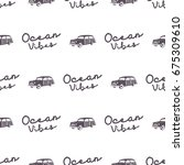 surfing old style car pattern... | Shutterstock .eps vector #675309610