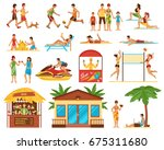 beach activity decorative icons ... | Shutterstock .eps vector #675311680