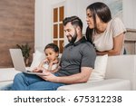 multiethnic family sitting on... | Shutterstock . vector #675312238