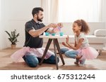 multicultural father and little ... | Shutterstock . vector #675312244