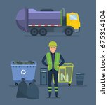 worker collect garbage in a... | Shutterstock .eps vector #675314104