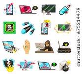 hacker set of isolated...   Shutterstock .eps vector #675314479