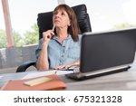 portrait of thoughtful... | Shutterstock . vector #675321328