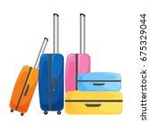 modern suitcase on wheels for... | Shutterstock .eps vector #675329044