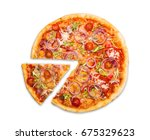 pizza slice top view isolated... | Shutterstock . vector #675329623